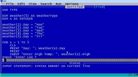 qbasic tutorial youtube qbasic tutorial 46 weather type qb64 youtube
