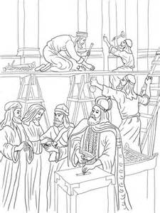 Joash Repairs The Temple Coloring Page Free Printable King Joash Coloring Page