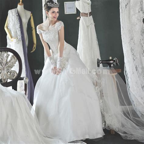 Korean Satin Flo mtf korea lace sweep princess sabrina bateau wedding