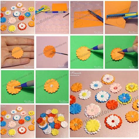 Paper Flower Steps - how to make easy paper flowers step by step diy tutorial