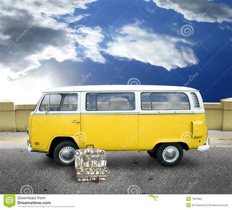 old volkswagen yellow vintage yellow van stock photo image of luggage vehicle