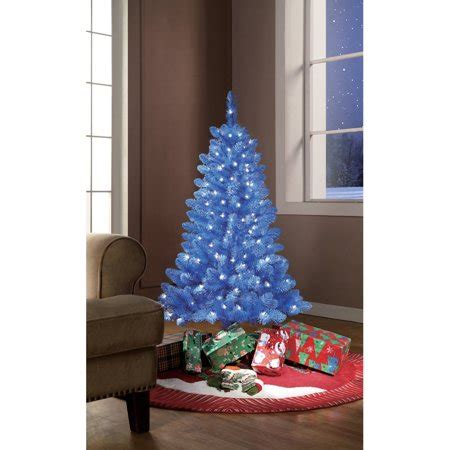 walmart christmas trees with lights time pre lit 4 blue tinsel artificial tree clear lights walmart