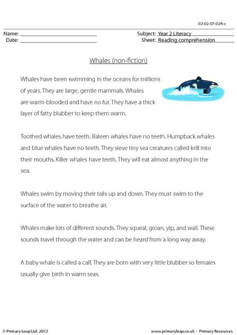 printable reading comprehension year 2 reading comprehension whales non fiction primaryleap