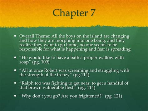 themes in lord of the flies chapter 7 ppt lord of the flies theme chapters 7 9 powerpoint