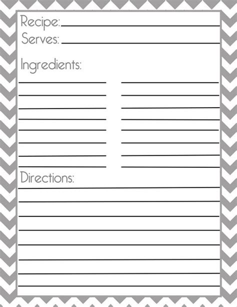 cookie recipe card template word chevron gray recipe page and filler page