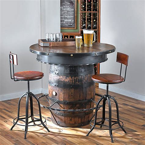 barrel bar table tennessee whiskey barrel pub table wine enthusiast