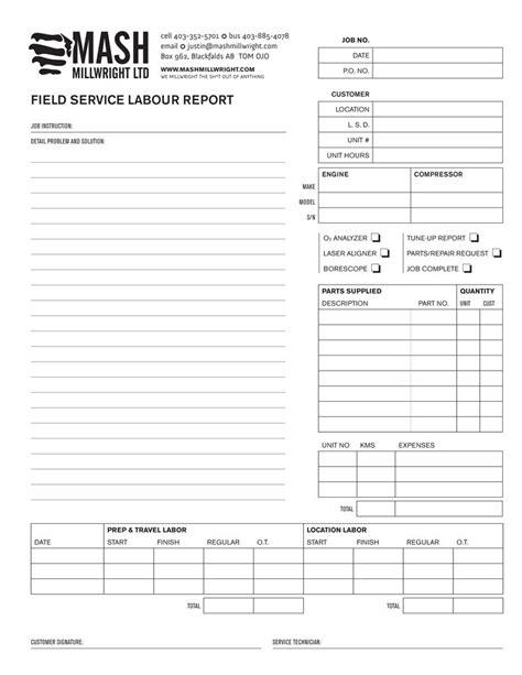 layout of a field report mash millwright field service report foxtail studio