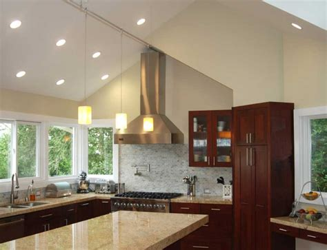 Lighting Ideas For Vaulted Ceilings | downlights for vaulted ceilings with stunning cathedral ceiling kitchen lighting downlights