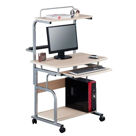 mobile computer desk pc workstation office desk maple ct