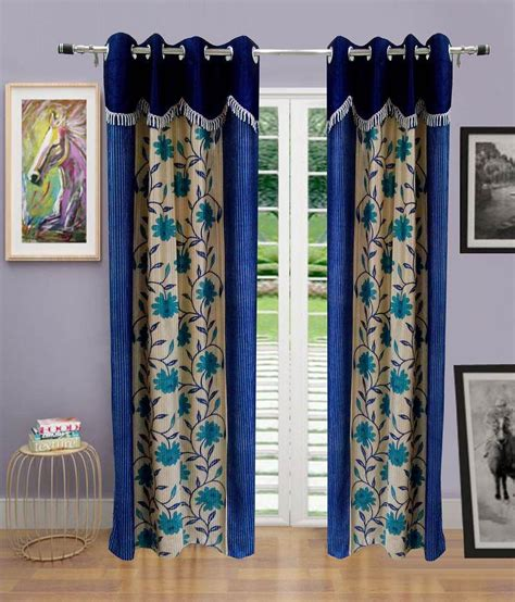 indian window curtains homefab india blue floral polyester window curtain set of