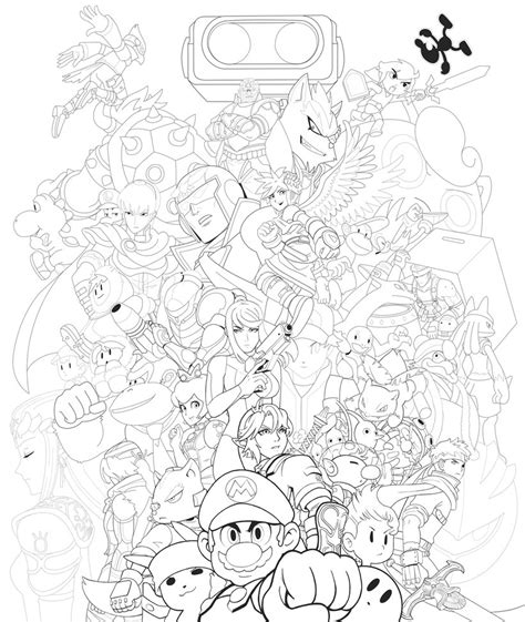 super smash bros brawl free coloring pages