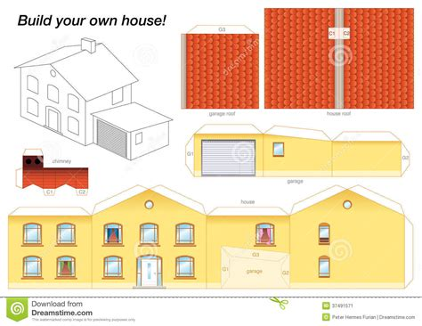 How To Make A House Of Paper - paper model house yellow stock image image 37491571