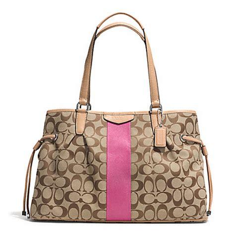 Coach Drawstring Signature Mahogany coach f28501 signature stripe 12cm drawstring carryall silver khaki pink coach handbags