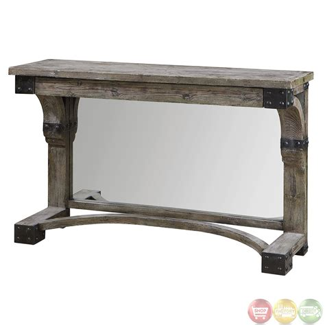nelo rustic weathered wood console table 24315 ebay