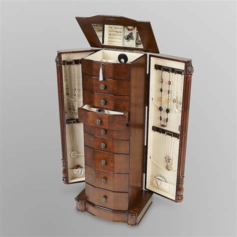 Wooden Mirror Jewelry Armoire by Mirrored Wood Jewelry Free Standing Stand Organizer