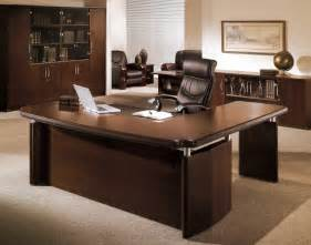 exceptional Contemporary Corner Computer Desk #4: office-desks-executive-office-desk-dark-wooden-desk-with-elegant-black-leather-office-chair-large-cabinet-and-credenza-spacious-brown-rug.jpg