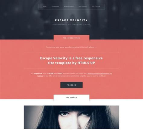 escape velocity template 50 free responsive html5 templates for designers code geekz