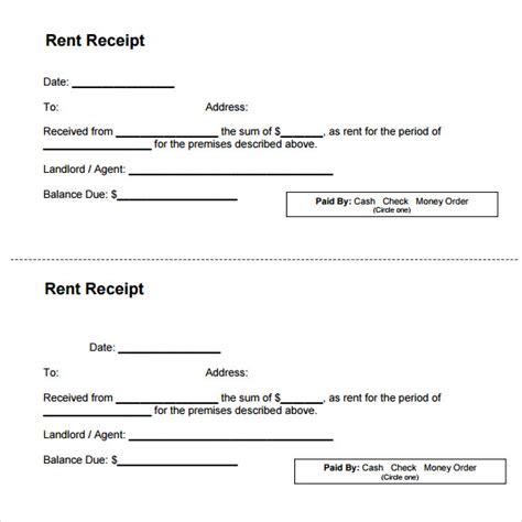 printable acknowledgement receipt 7 rent receipt templates free sles exles format