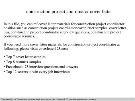 Cover Letter For Construction Project Coordinator Construction Project Coordinator Cover Letter
