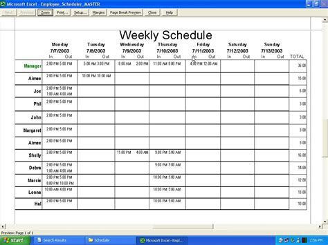 Employee Shift Schedule Template Excel Schedule Template Free Free Monthly Work Schedule Template