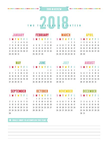 printable calendar year at a glance 2018 2017 everyday planner update