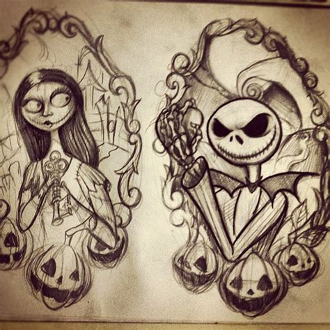 nightmare before christmas couple tattoos nightmare before flash sheet progress