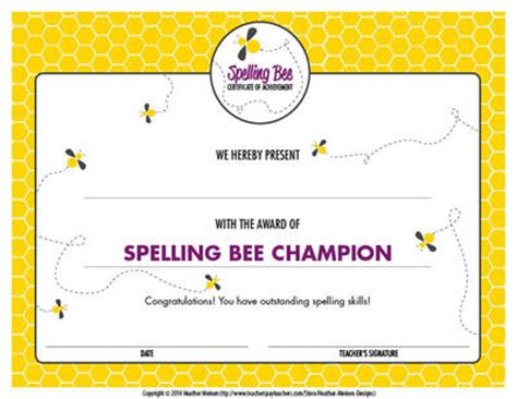 spelling bee award certificate template spelling bee certificate from heathermeinendesigns on