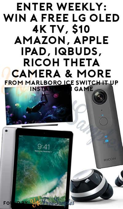 Marlboro Instant Win - enter weekly win a free lg oled 4k tv 10 amazon apple ipad iqbuds ricoh theta