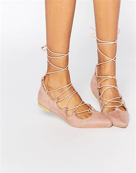 pink glamorous dusty suede pink ghillie tie up flat