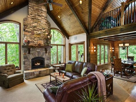 Updated living room ideas, log home great room curtains