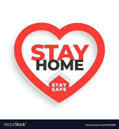 stay home  stay safe slogan  heart vector image