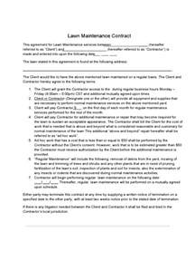 Maintenance Contract Exle by Lawn Care Contract Template 2 Free Templates In Pdf Word Excel