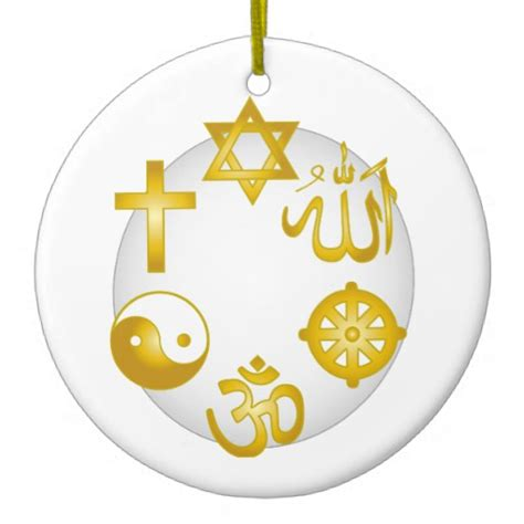 circle of golden religious symbols christmas tree ornament