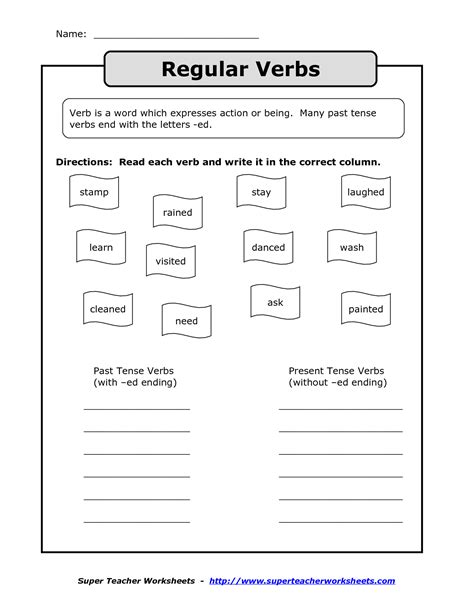 15 best images of regular verbs worksheet