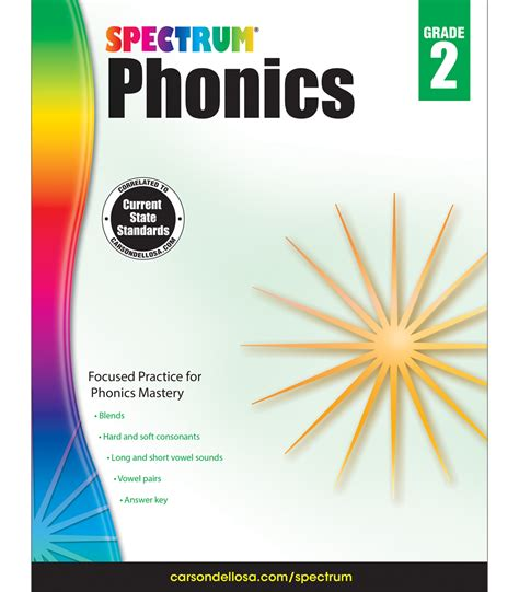 spectrum 1 workbook spectrum phonics workbook grade 2 carson dellosa publishing