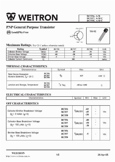 datasheet of transistor bc558 bc556 1121952 pdf datasheet ic on line