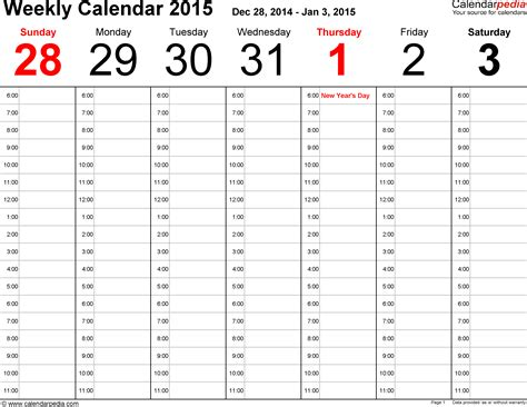2015 weekly calendar templates weekly calendar 2015 for excel 5 free printable templates