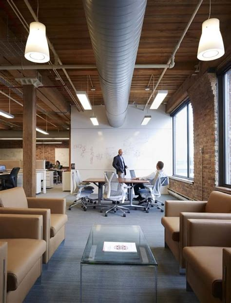 exposed brick and high ceilings office workspace