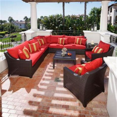 red outdoor sectional rst brands deco 9 piece patio sectional seating set with