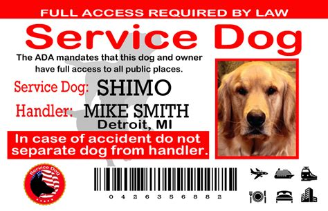service animal card template service card template goldenacresdogs