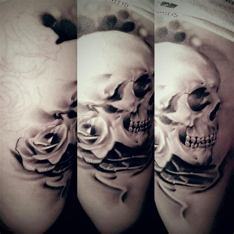 tattoos skull and roses skull and roses healed by littlerock3dd on deviantart