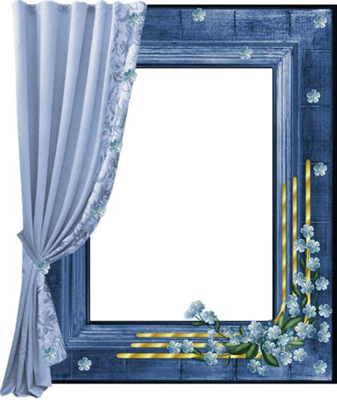 Blue Transparent Png Frame With Curtain Stationnaire