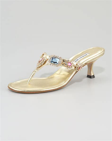 one sandal manolo blahnik beaded kitten heel sandal in metallic