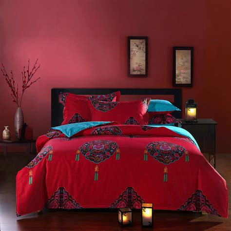 Red Color 100 Cotton Chinese National Bedding 4pcs Pure China Bedding Sets
