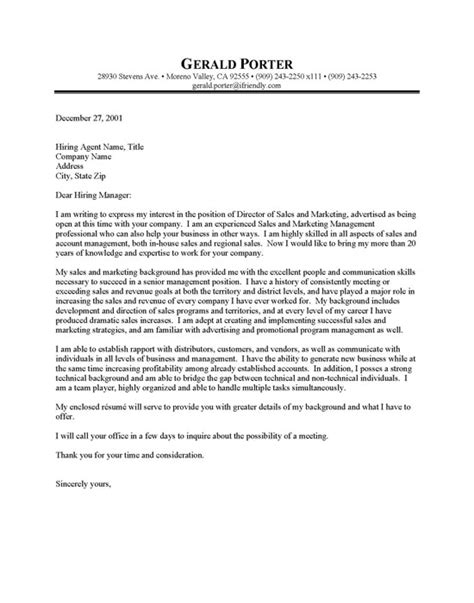 Cover letter of sales marketing