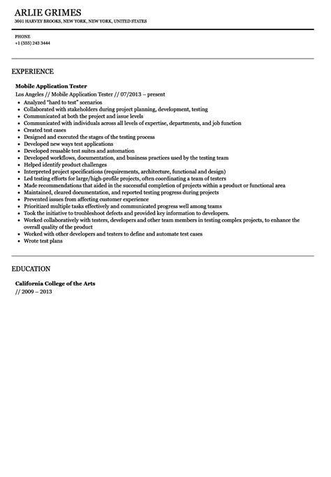 Resume Mobile Application Mobile Application Tester Resume Sle Velvet