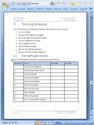 Training Plan Template 20 Page Word 14 Excel Forms Course Curriculum Template Word