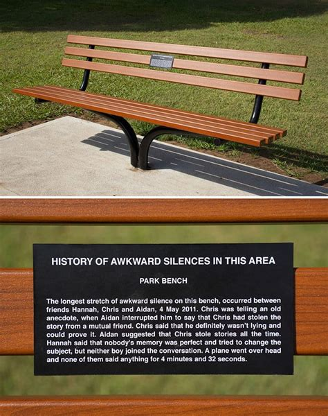 park bench plaques 14 interesting and amusing signs left by an artist in