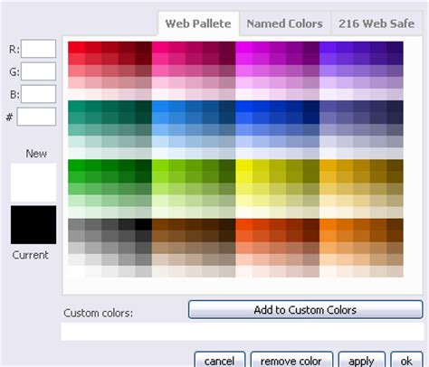 Web Page Color Palette visual or wysiwyg editor ucoz community
