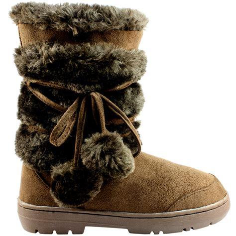 womens pom pom short classic fur lined winter rain